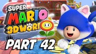 Super Mario 3D World Walkthrough Part 42 - Blast Block Skyway (100% Green Stars & Stamps)