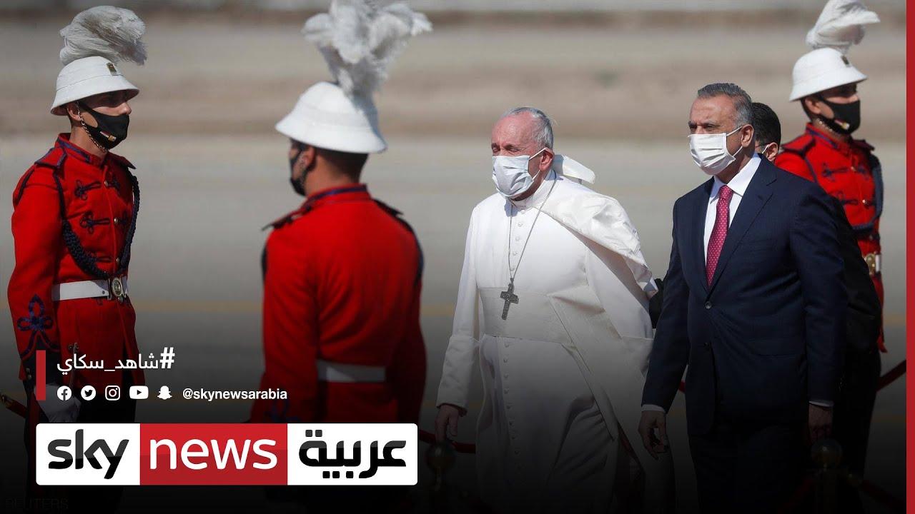 الرئيس العراقي برهم صالح يستقبل بابا الفاتيكان في قصر بغداد  - 13:58-2021 / 3 / 5