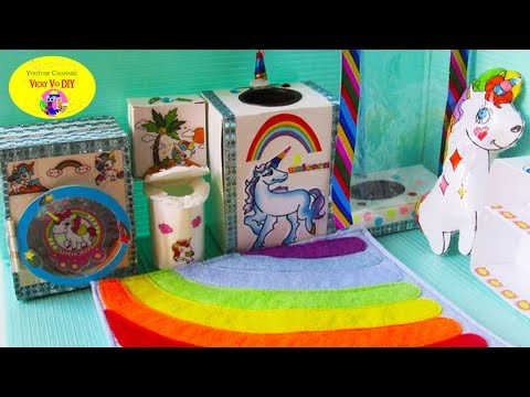 DIY Miniature dollhouse Bathroom. Unicorn Bathroom decor. Rainbow
