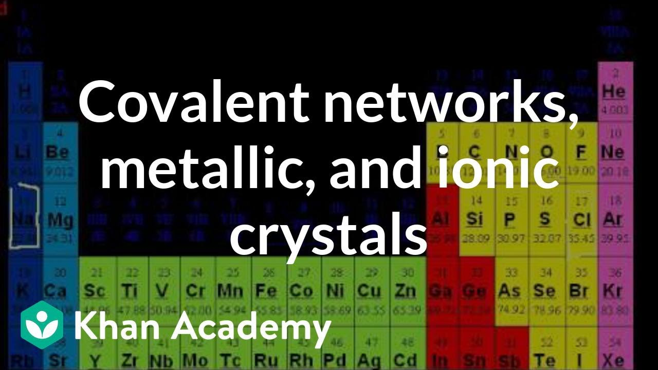 Covalent networks, metallic crystals, and ionic crystals (video