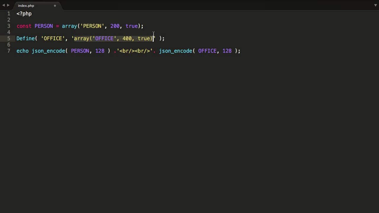 Php how to define constant array