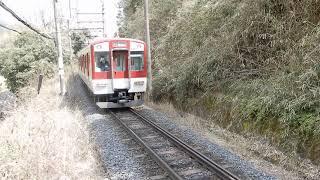 近鉄吉野線 薬水駅から上り6620系急行が発車