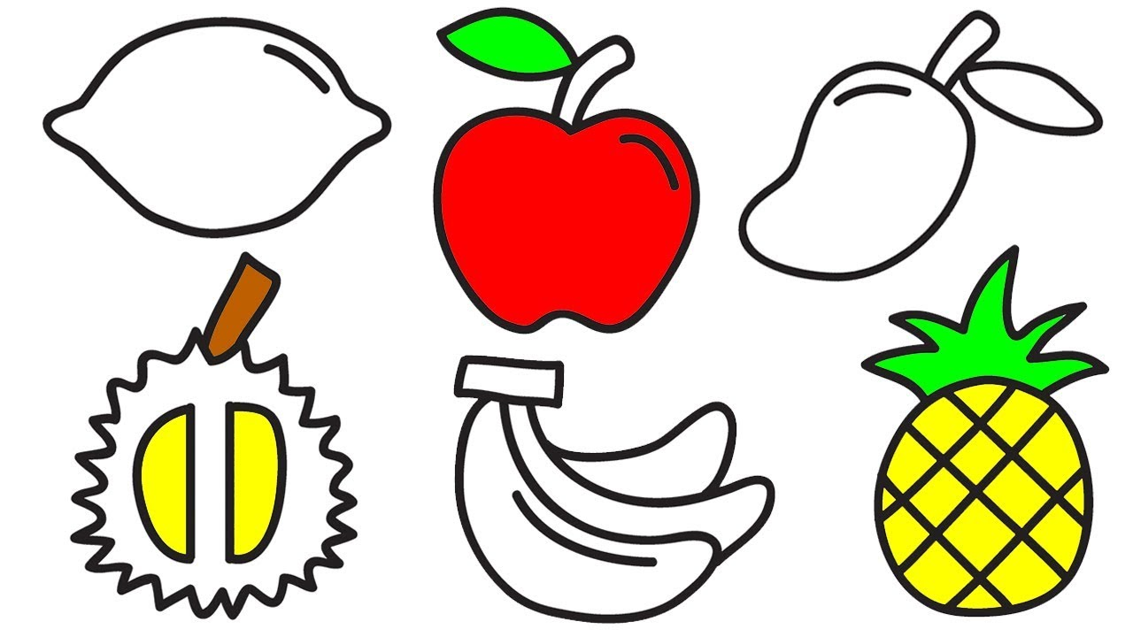 How To Draw And Coloring Simple Fruits For Kids Simple Paint For