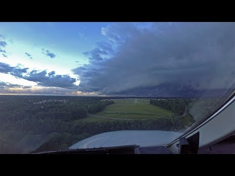 Flying around thunderstorms and shelf clouds (time lapse)