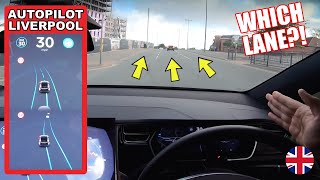 No Lines Intersection... Which Lane Will It Choose?! - Tesla Autopilot in a UK City #5 Liverpool