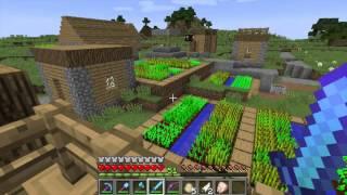 Minecraft construction, élevage, culture, gare, wagon et village PNJ [FR].
