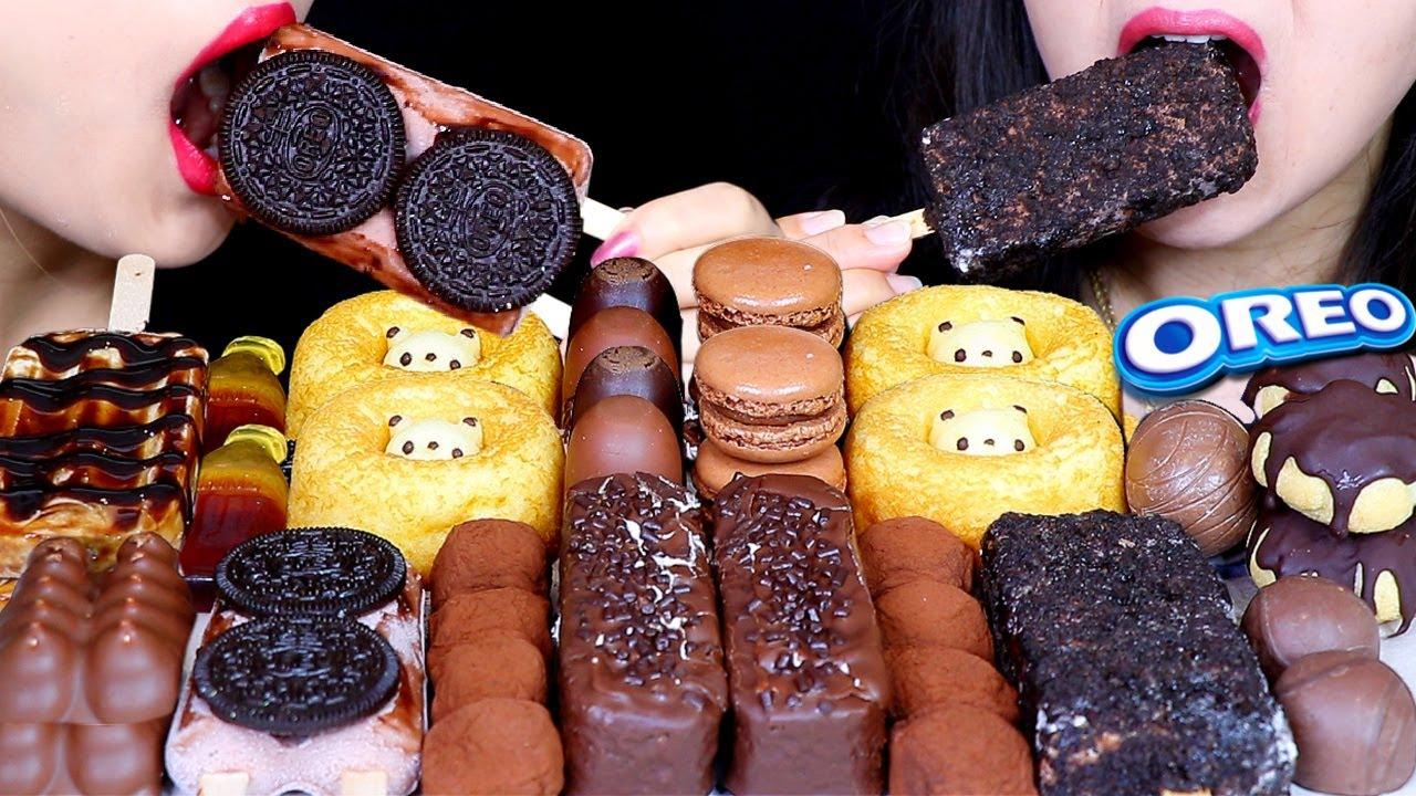ASMR FAVORITE SOFT DESSERTS (CHOCOLATE MOCHI, OREO ICE CREAM, MARSHMALLOW, CAKE, BOBA ICE CREAM) 먹방