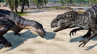 2 Acrocanthosaurus & 2 Indominus Rex Breakout & Fight! Jurassic World Evolution (4K 60FPS)