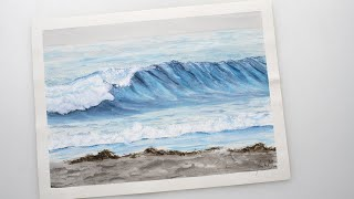 Watercolor sea wave crushing on beach painting - step by step demonstration