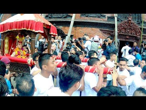 Living Goddess Kumari In Rath - Lakhe Dance on Indra Jatra - Nepal Festival (Part One)