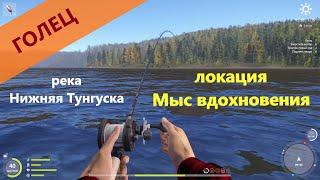 Русская рыбалка 4 река Нижняя Тунгуска Голец почти с берега