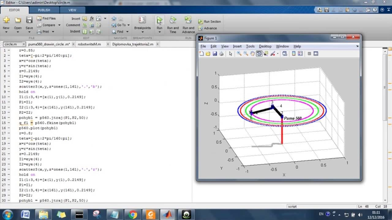 PUMA560 drawing multiple circles [Matlab robotic toolbox]