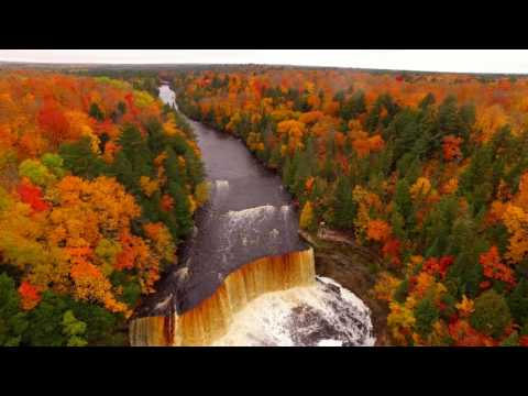 Drone Video Shows Fall Colors at Tahquamenon Falls in Paradise, Michigan