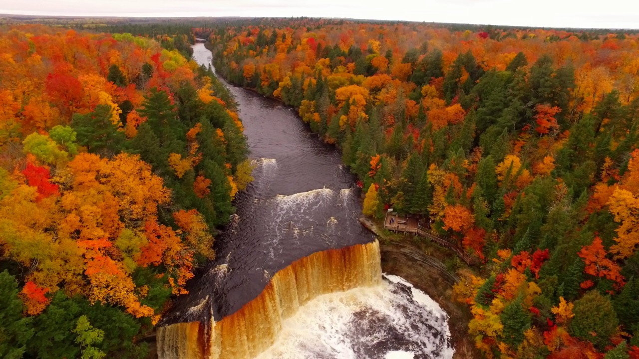 falls fall colors tahquamenon michigan paradise drone mich taq