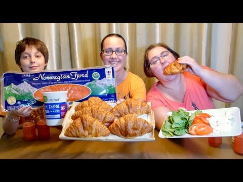 Smoked Salmon And Cream Cheese Croissant Sandwiches | Gay Family Mukbang (먹방) - Eating Show