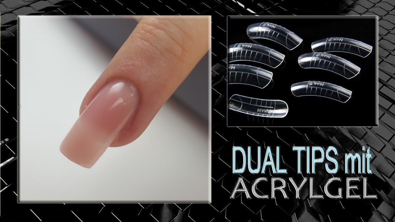 DualTips mit AcrylGel PolyGel Anleitung Tutorial - YouTube