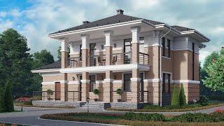 Проект дома в классическом стиле из кирпича. Дом с террасой, эркером и сауной Ремстройсервис М-366