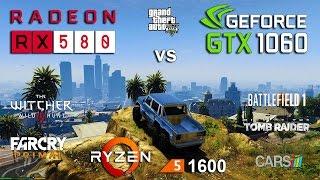 RX 580 vs GTX 1060 Test in 6 Games (Ryzen 1600)