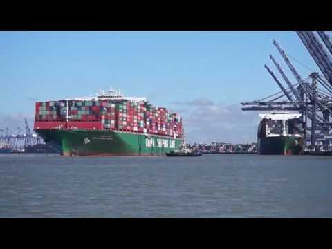 CSCL ATLANTIC OCEAN arriving at the port of felixstowe with 3 tugs 14/7/16.