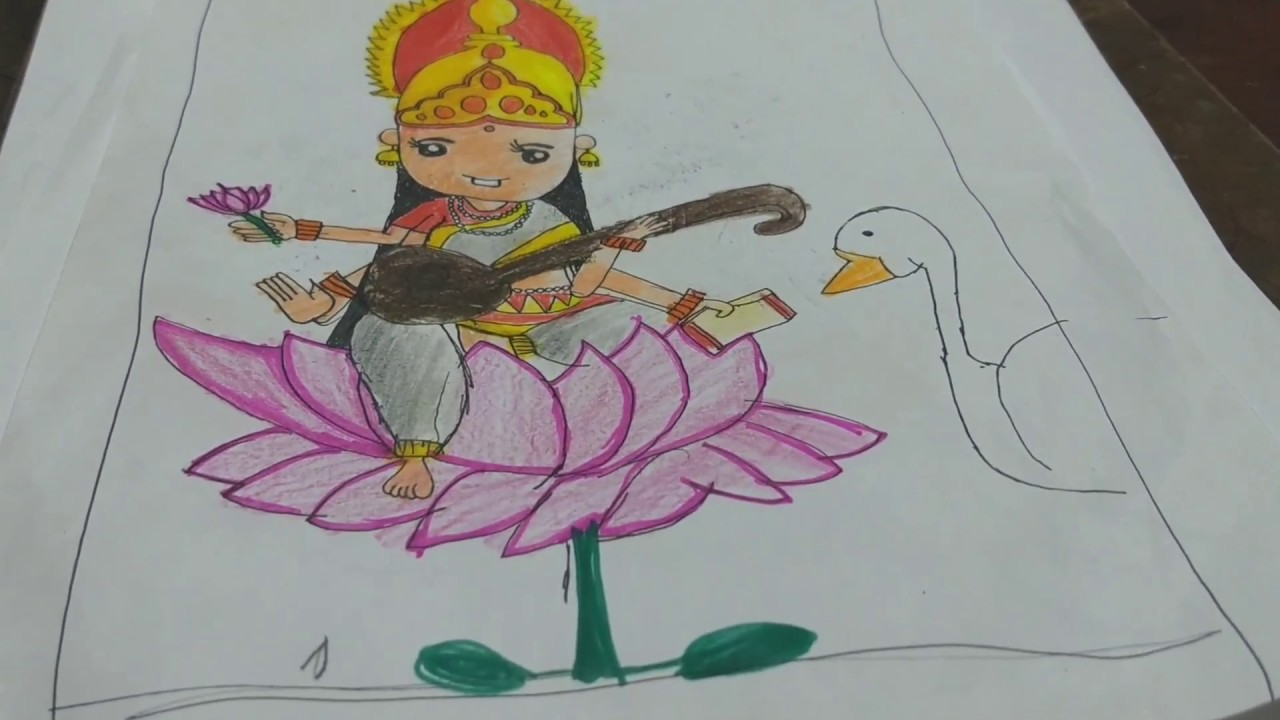 draw goddess saraswati creative drawing youtube
