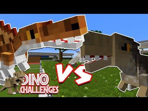 Minecraft: Dinosaur Challenge | SPINOSAURUS VS TYRANNOSAURUS REX RACE! Jurassic World Mods