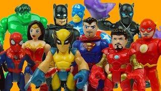 WHO IS THE BEST SUPERHERO? batman, iron man, hulk, spiderman toys
