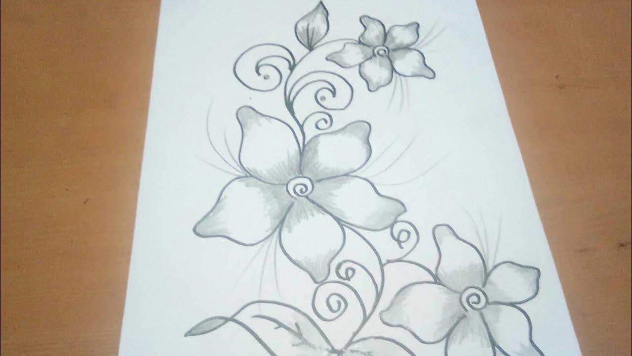 Sketsa Motif Batik Bunga Anggrek Sempoa Dunia