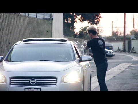 Breaking Car Window In The Hood PRANK!!