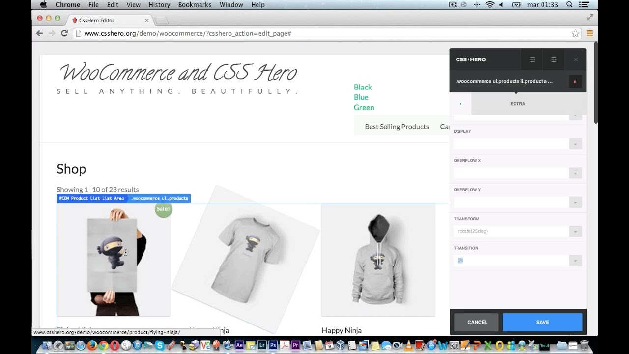 WooCommerce plugin: CSS Hero - Add CSS rotation on Product Image Loop