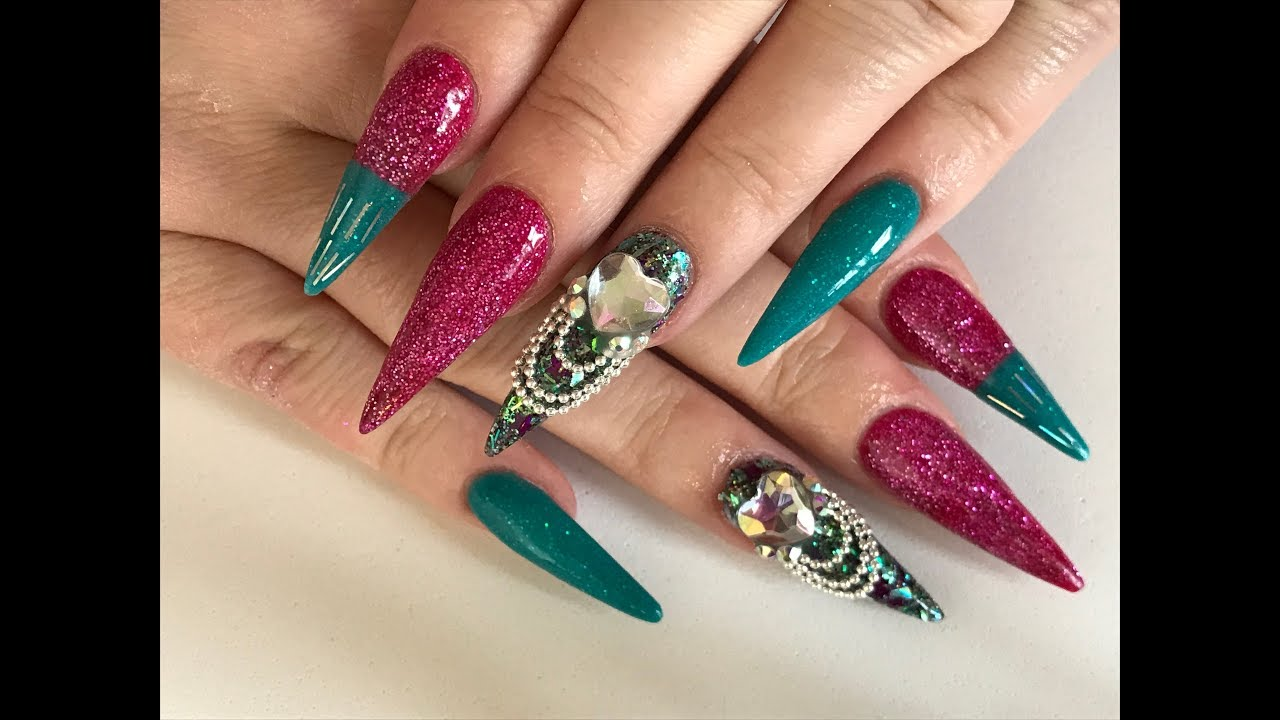 Acrylic nails sculpted stilettos with chain dangles - extra long ...