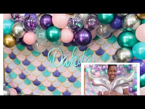 DIY Mermaid Balloon Garland and Backdrop Tutorial | Budget Friendly