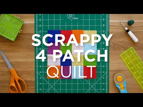 Make An Easy Scrappy 4 Patch Quilt Block Quilt Snips Youtube