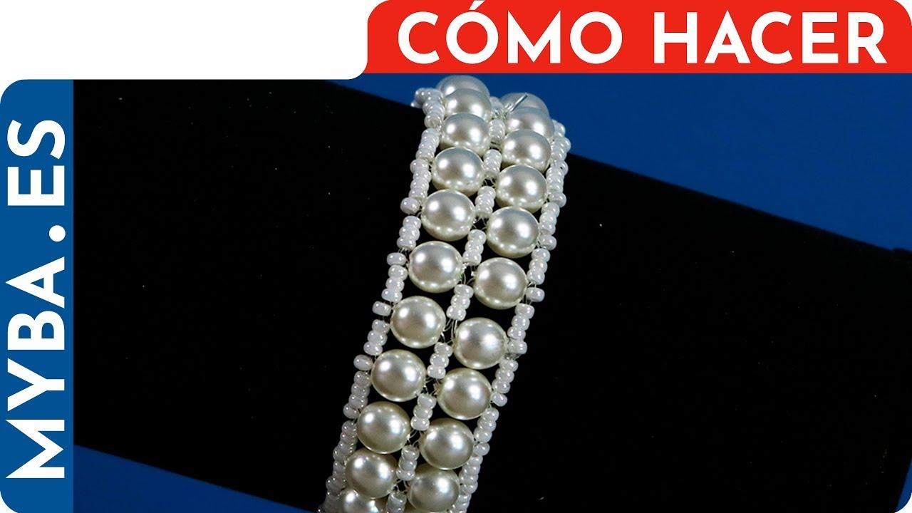 b0852088eafd Cómo hacer pulsera de perlas. Brazalete para boda