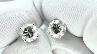 Vidéo: Puces d'oreilles Or gris 18k avec Diamants brillants 1.22 Cts et 1.21Cts. K-SI1 (HRD)