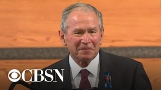 "Former president george w. bush spoke at the funeral for late civil rights leader and congressman john lewis ebenezer baptist church in atlanta. ""we l..."