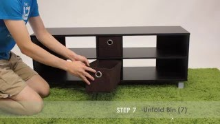 How to Assemble Furinno 10001 TV Entertainment Center w/2 Bins Drawers