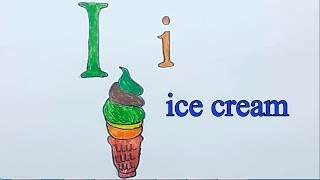 Learn alphabetically and draw the letter I |  ice cream