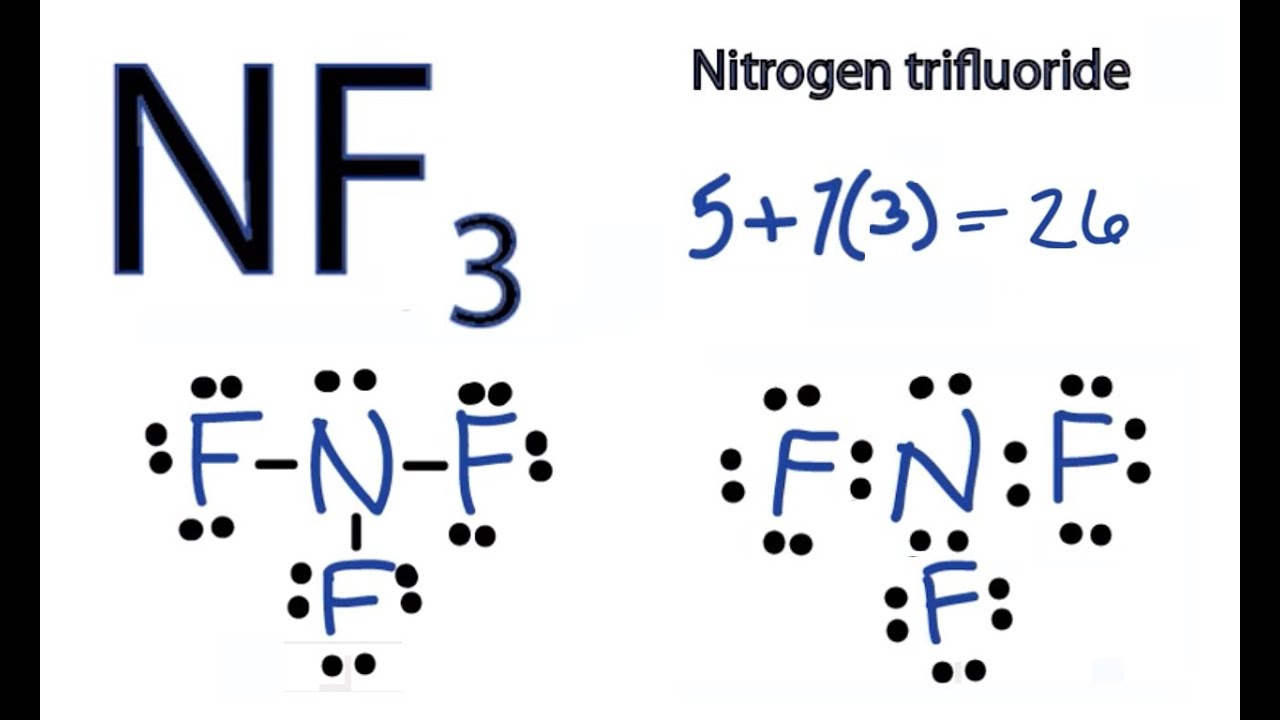 nf3 lewis structure how to draw the dot structure for nf3 nitrogen trifluoride  [ 1280 x 720 Pixel ]