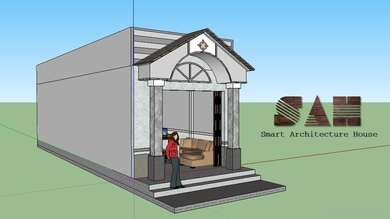 Nhà cấp 4 Đơn giản , Thiết kế nhà 3D – nhà cấp 4 nhỏ và rẻ tiền mặt tiền hiên thái | #SAH