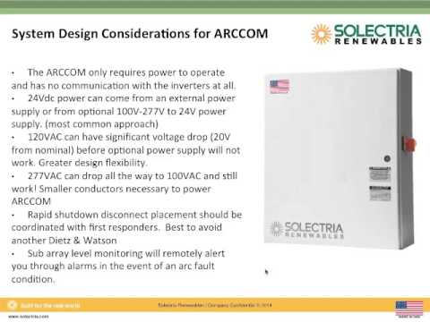 Commercial Solar Design & NEC 2014: Meeting New Arc Fault Detection and Rapid Shutdown Requirements