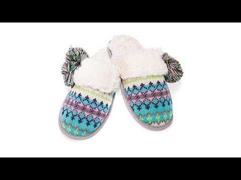 Foot Petals Fair Isle Knit Pom Pom Slipper - YouTube