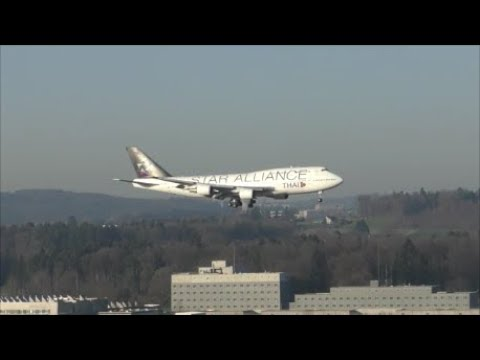Thai King Maha Vajiralongkorn landing at Zürich-Kloten with Thai Airways Boeing 747