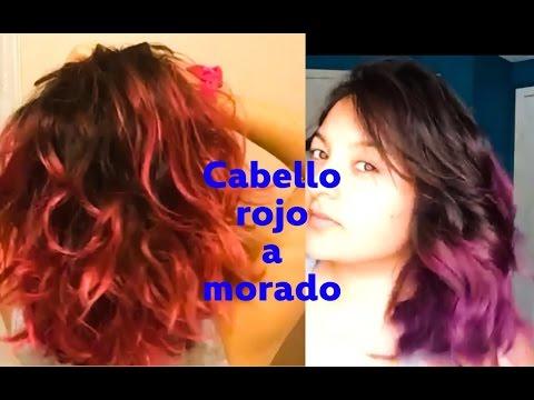 Como Cambiar Cabello Rojo a Morado , Pasar de rojo a morado , cabello violeta , YouTube
