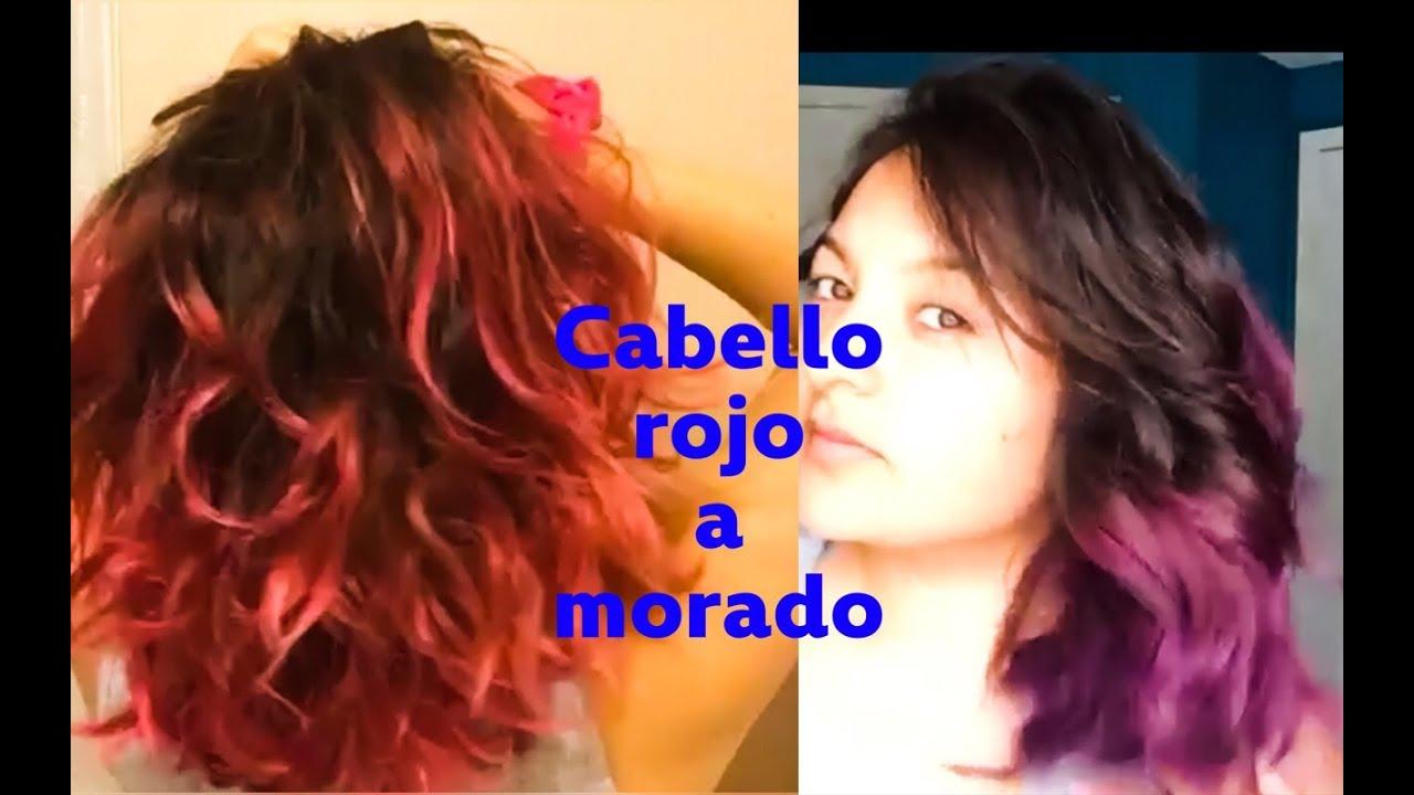 Como Cambiar Cabello Rojo a Morado , Pasar de rojo a morado , cabello violeta