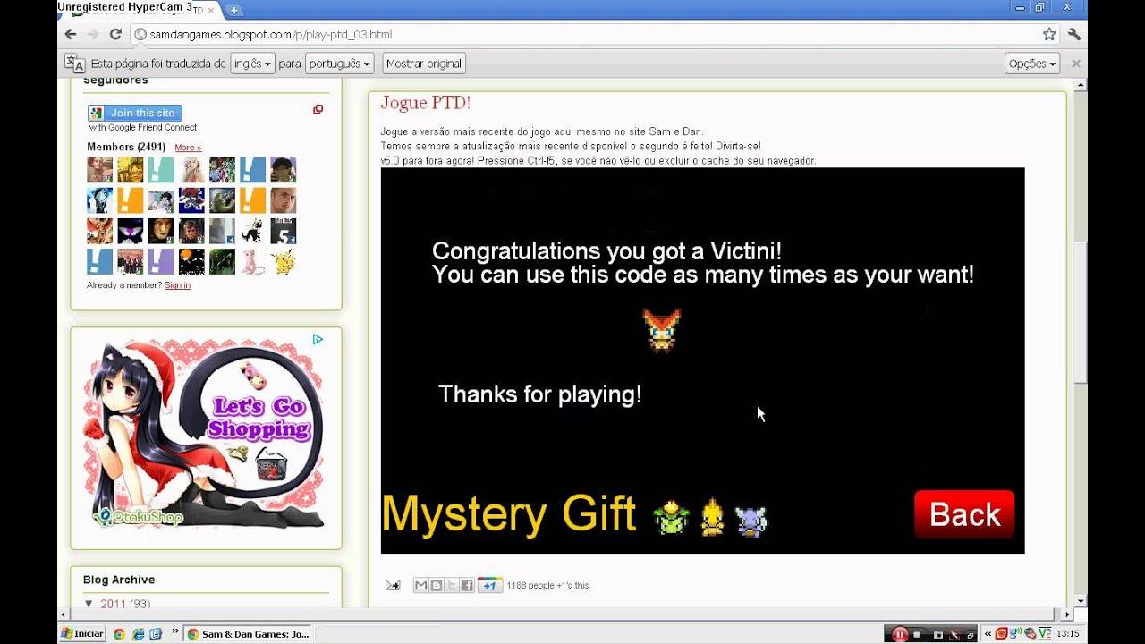 Pokemon Tower Defense Mystery Gift Code Victini (Infelizmente esse código não funciona mais) - YouTube