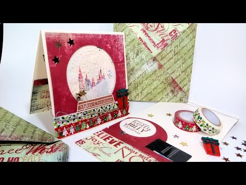 How To Heat Emboss Acetate // Christmas Snow Globe Shaker Card // Gift Card Holder