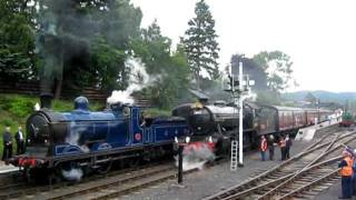C.R. 828 leaving Boat Of Garten alongside K4 The Great Marquess on The Strathspey Railway.