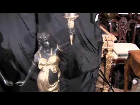 French Art Nouveau Female Bronze Lamps Torcheres