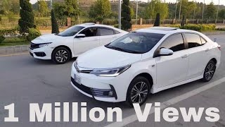 TOYOTA COROLLA FACELIFT GRANDE 2018 VS HONDA CIVIC UG 2018 HEAD TO HEAD COMPARISON AND RACE PAKISTAN