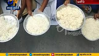 Students stage dharna over Lack of Quality in mid day meal   Adhoni of Kurnool